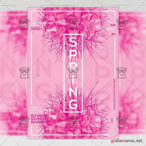 Seasonal A5 Flyer Template - Spring Pop Art Party