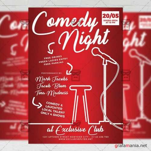 Club A5 Flyer Template - Comedy Night Show