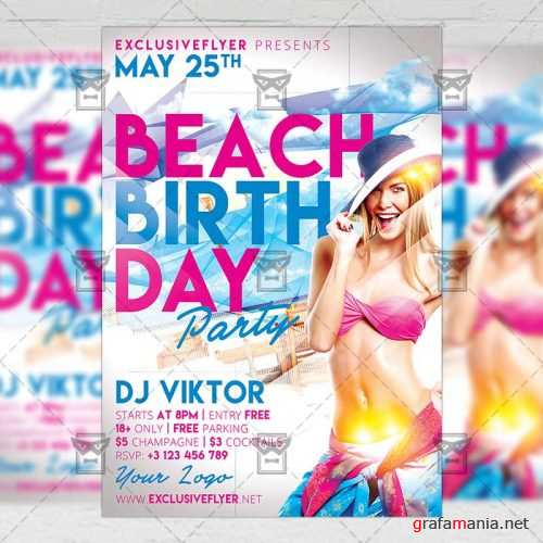 Club A5 Flyer Template - Birthday On The Beach