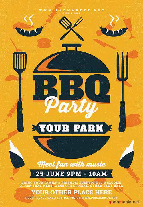 PSD Template - BBQ Party Flyer
