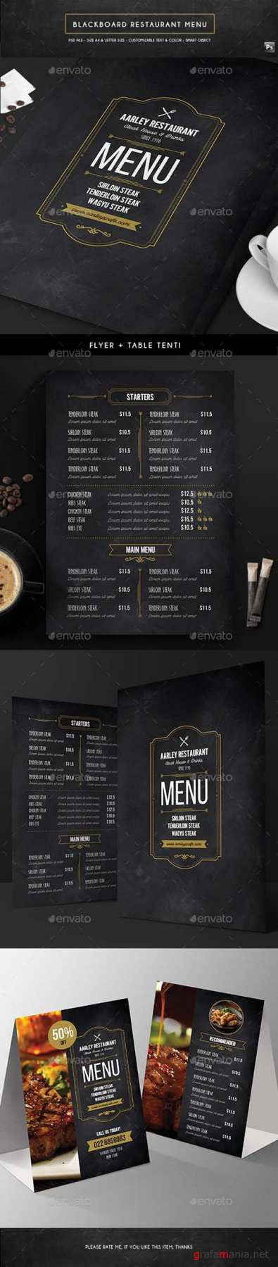 GR - Blackboard Menu Flyer + Table Tent 16711712