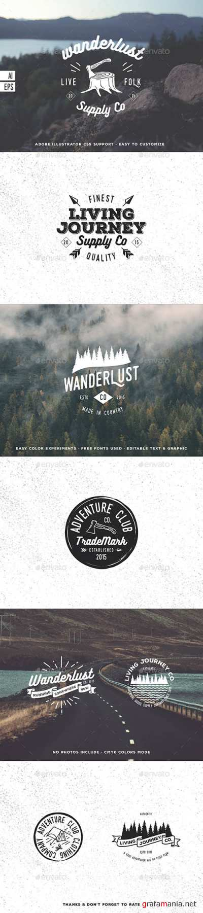 GraphicRiver - 8 Hiking Hipster Badges 14319769