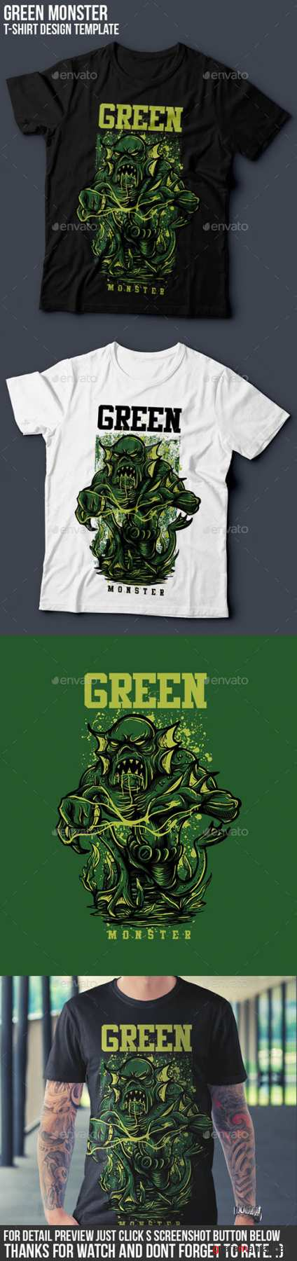 GR - Green Monster T-Shirt Design 14496421