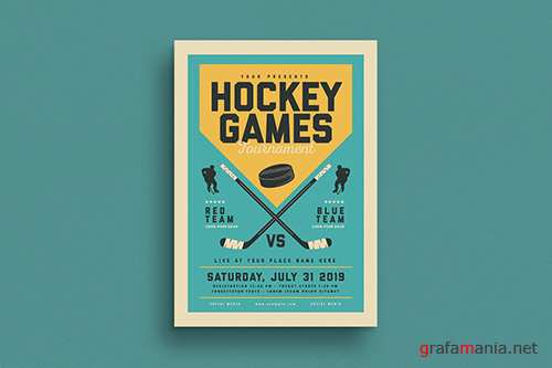 PSD Vintage Hockey Game Flyer