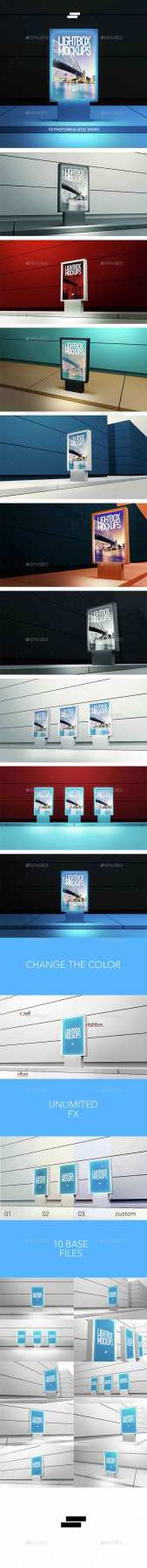 GR - 3D Lightbox Poster Outdoor Mock-ups 15128046