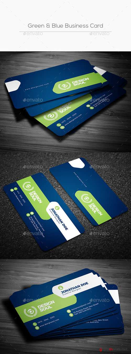 GraphicRiver - Green & Blue Business Card 22217003