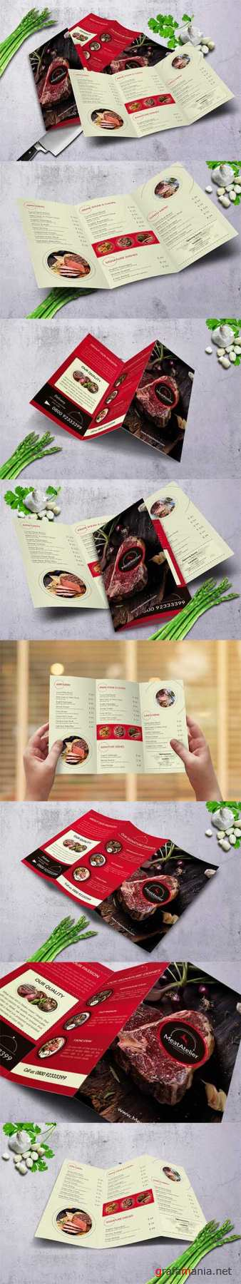 PSD Meat Atelier Trifold Food Menu A4 & US Letter