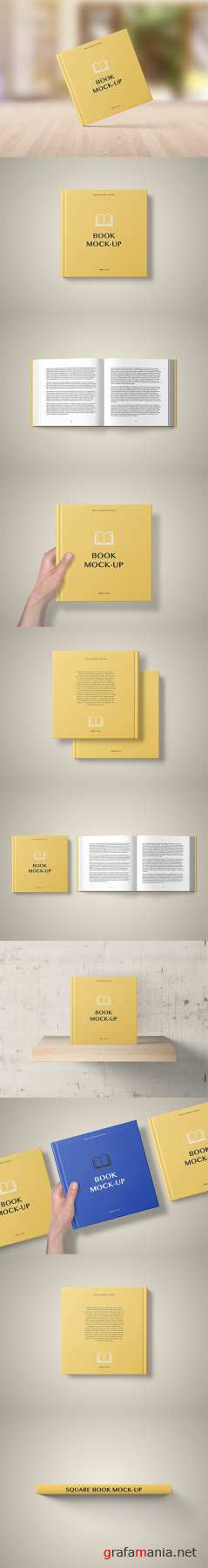 Hard Cover Square Book Mockup - Set 2