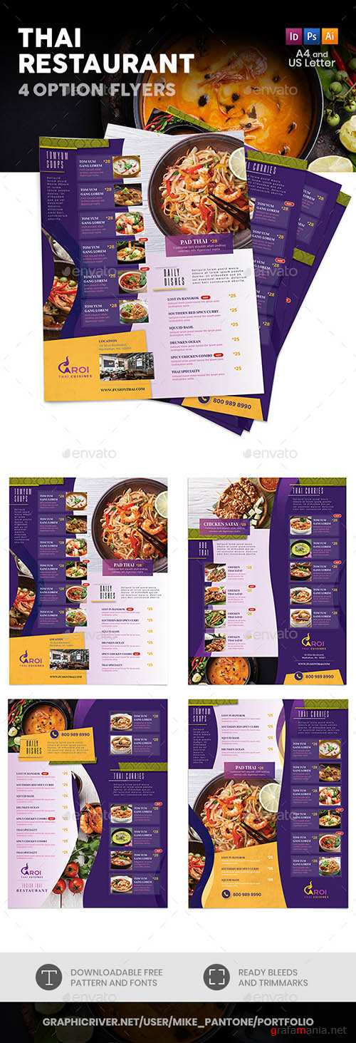 GR - Thai Restaurant Menu Flyers 5 – 4 Options 22218442