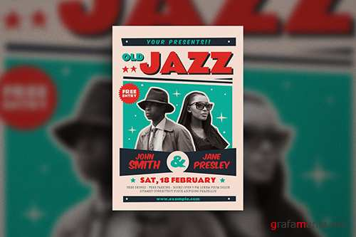 Old Jazz Music Poster PSD