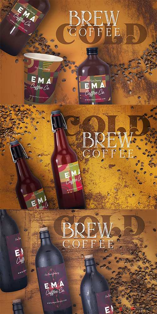 Cold Brew Coffee Bottle Mock-ups