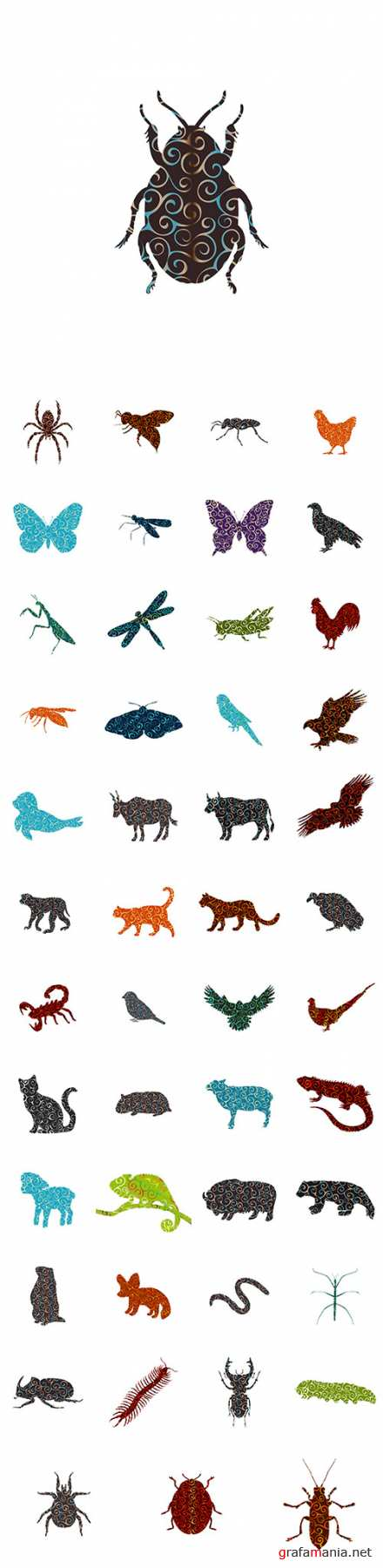 Vector Spiral pattern color silhouette animal
