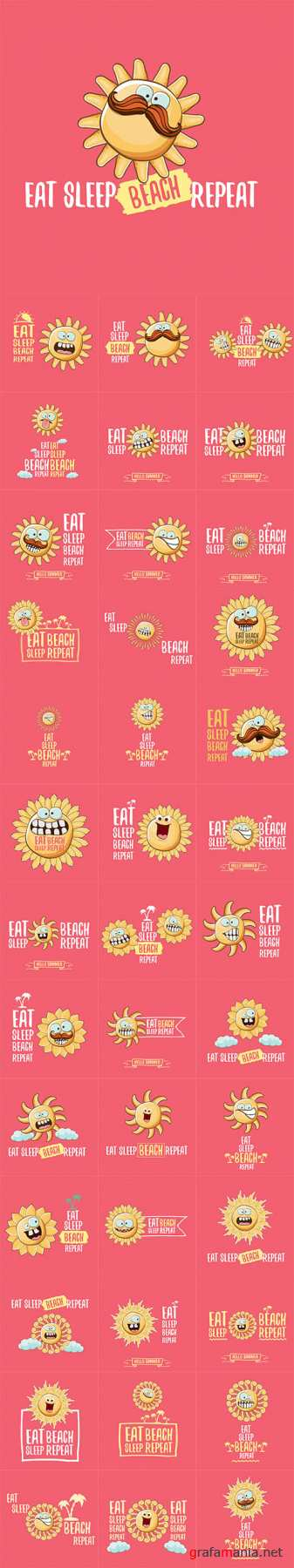 Vector Eat sleep beach repeat concept cartoon illustration or summer poster