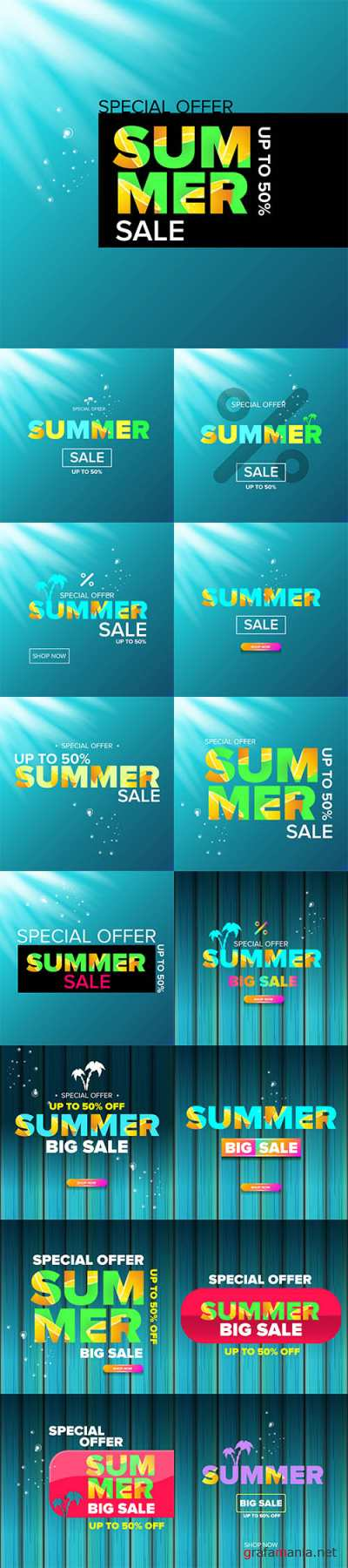 Vecto Summer sale modern color design template web banner or poster