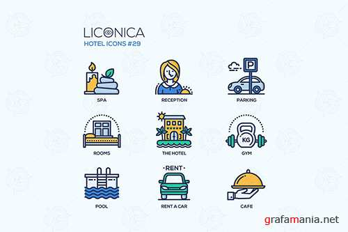 Hotel - modern vector flat line design icons set