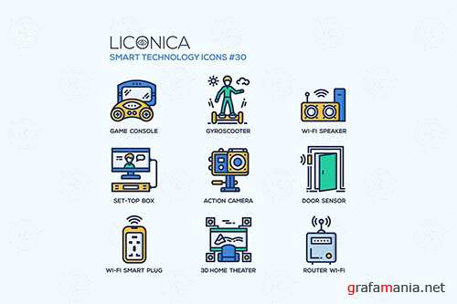 Smart Technology - flat line design style icon set