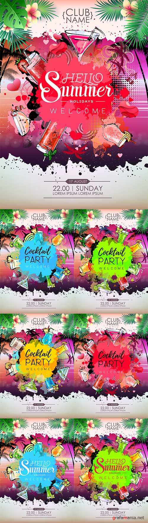 Vector Summer Cocktail party posters design. Cocktail menu
