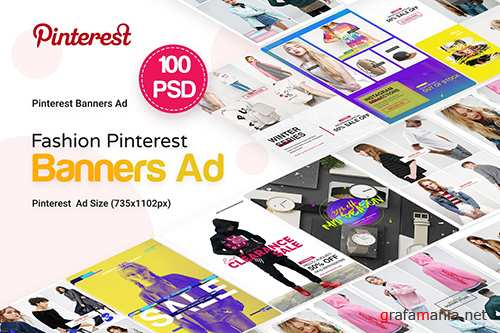 Fashion Pinterest Pack Banners Ad - 100 PSD