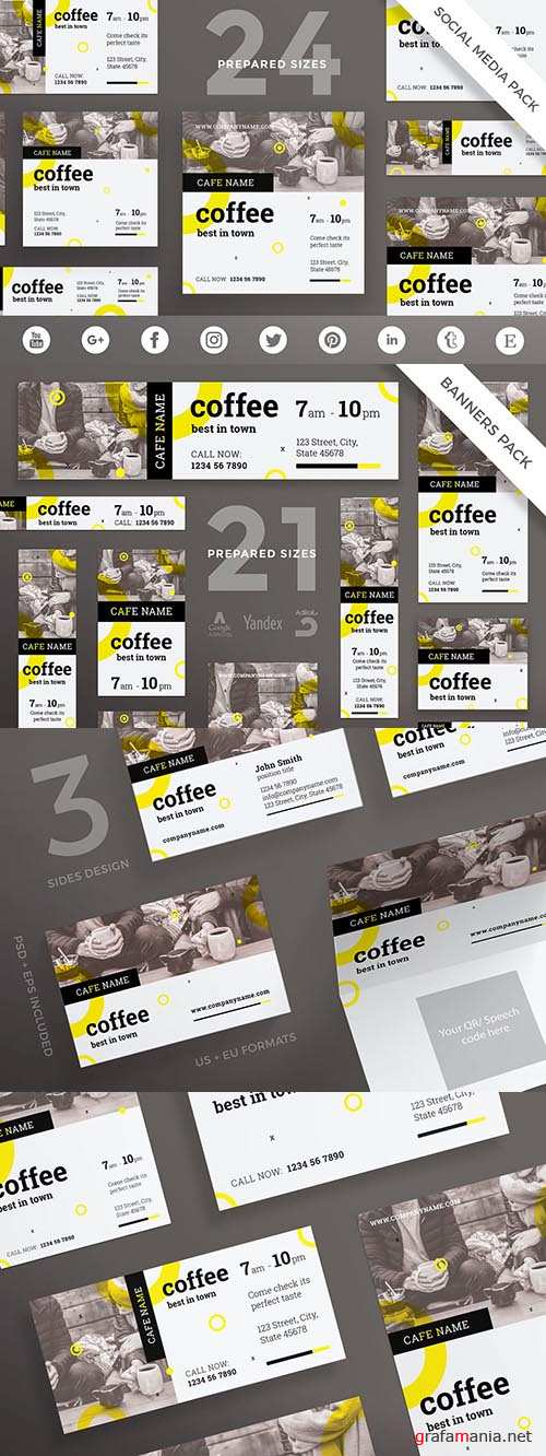Coffee Shop Social Media Pack Templates