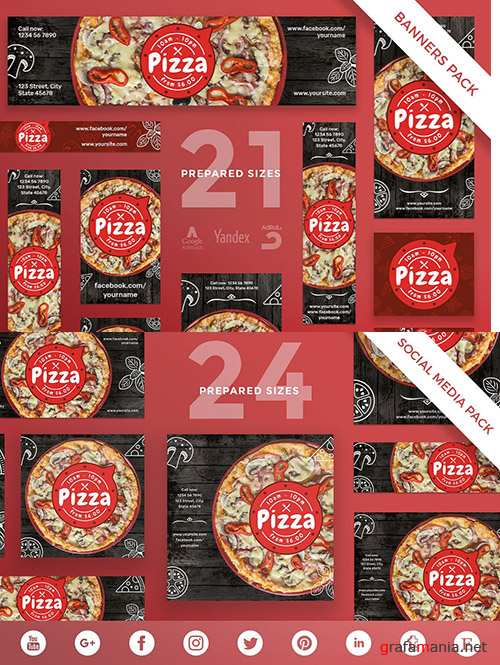 Pizza Restaurant Social Media Pack Template