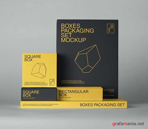 Boxes Packaging Pack Mockup 3