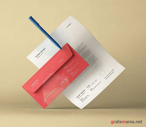 Stationery Envelope Letterhead Mockup