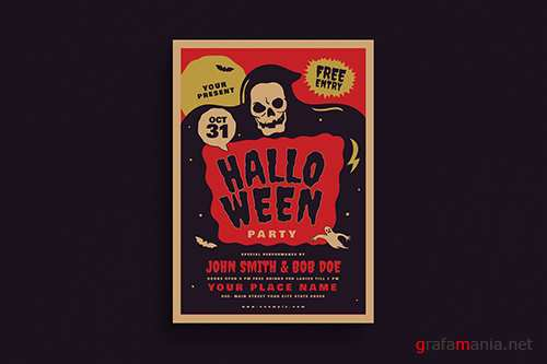 Retro Old Halloween Event flyer PSD