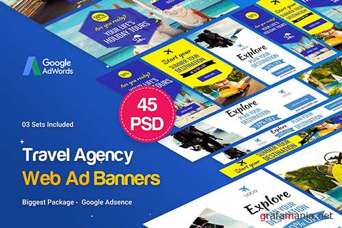 PSD Travel Agency Banner Ad - 45 PSD [03 Sets]