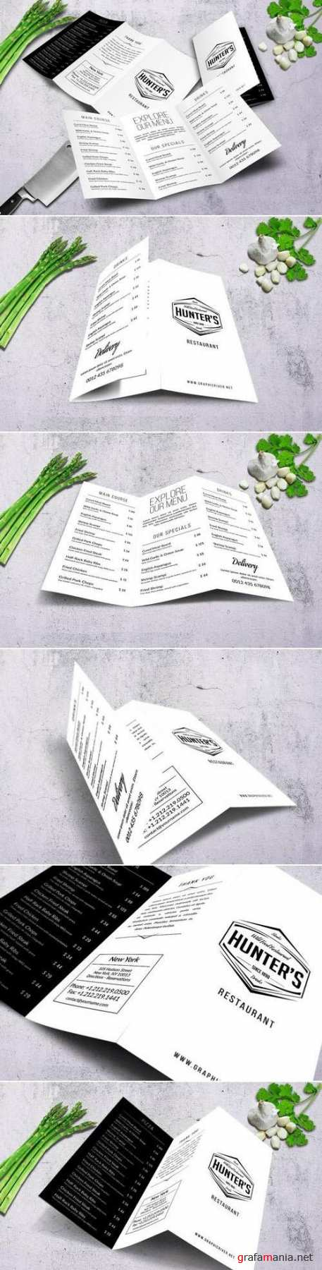 Minimal A4 Trifold Food Menu Design