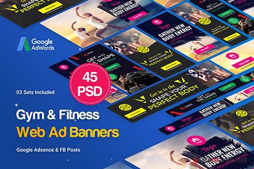 PSD Gym & Fitness Banners Ad - 45 PSD [03 Sets] 2