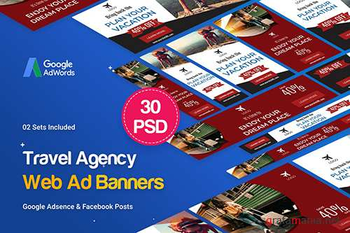 PSD Travel Agency Banner Ad - 30 PSD [02 Sets]
