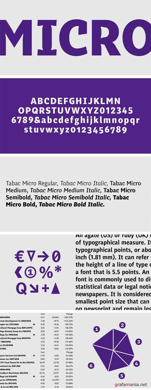 Tabac Micro Font Family