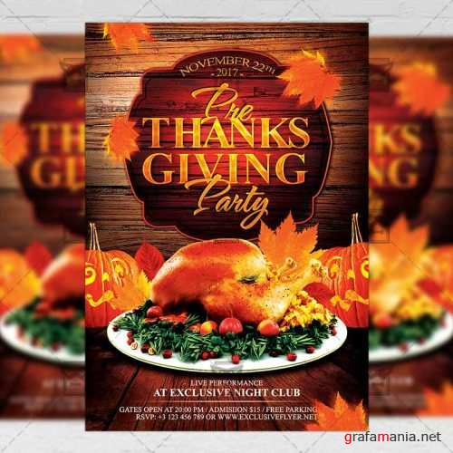 Seasonal A5 Flyer/Poster Template - Pre Thanksgiving Party
