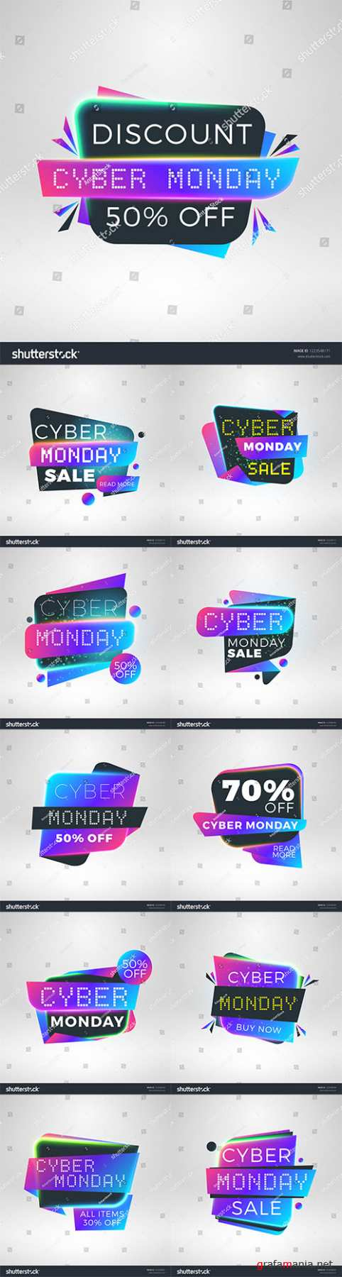 Vector Cyber Monday sale stickers. Discount banners. Special offer sale tag