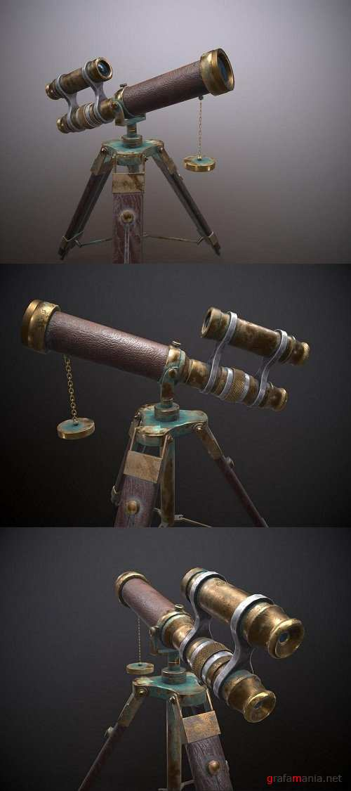 Copper Vintage Telescope With Wooden Stand – 3D Model