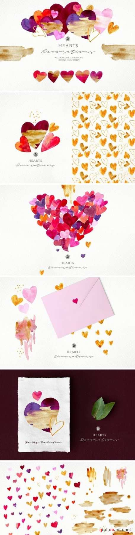 CM - Hearts - watercolor illustrations 3221567