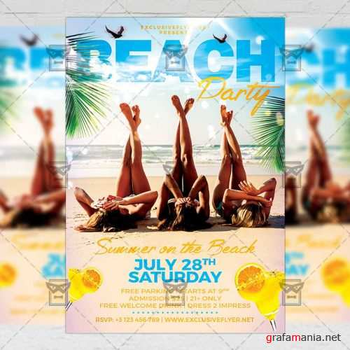 Seasonal A5 Template - Beach Party Flyer
