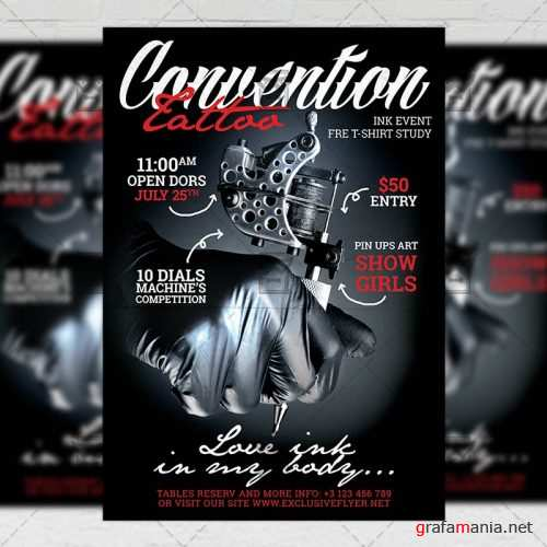 Club A5 Template - Tattoo Convention Flyer