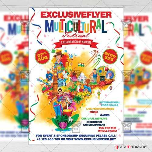 Club A5 Flyer Template - Multicultural Festival
