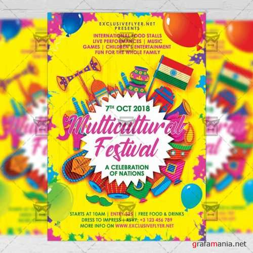 Club A5 Template - Multicultural Festival Flyer