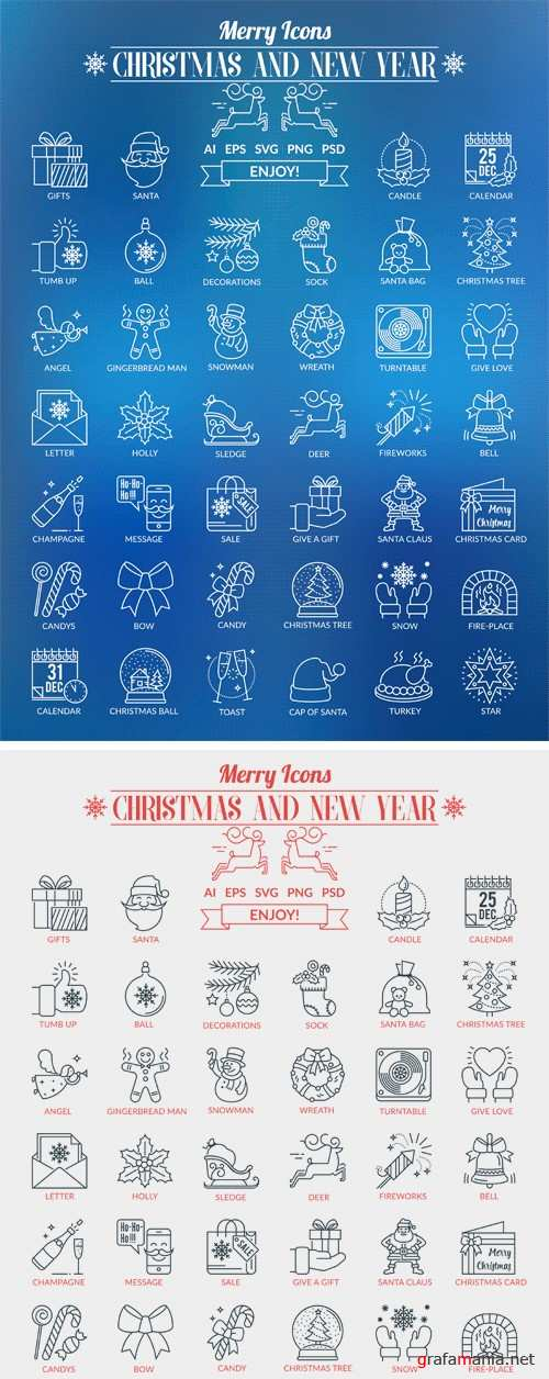 CM - Outline Icons Christmas and New Year 2112777
