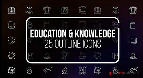 Education And Knowledge - 25 Outline Icons 149585