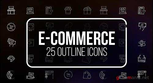 E Commerce - 25 Outline Icons 149578