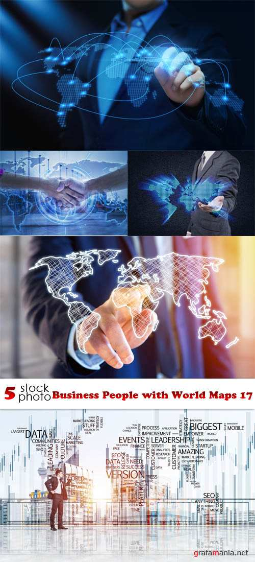 Растровый клипарт - Business People with World Maps 17