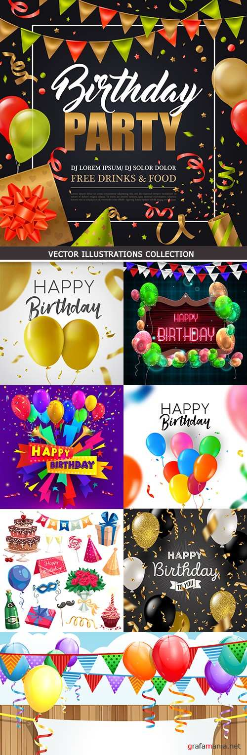 Happy Birthday holiday balloons and gifts collection 23 eps, ai / jpeg + prew / 249,2 Mb