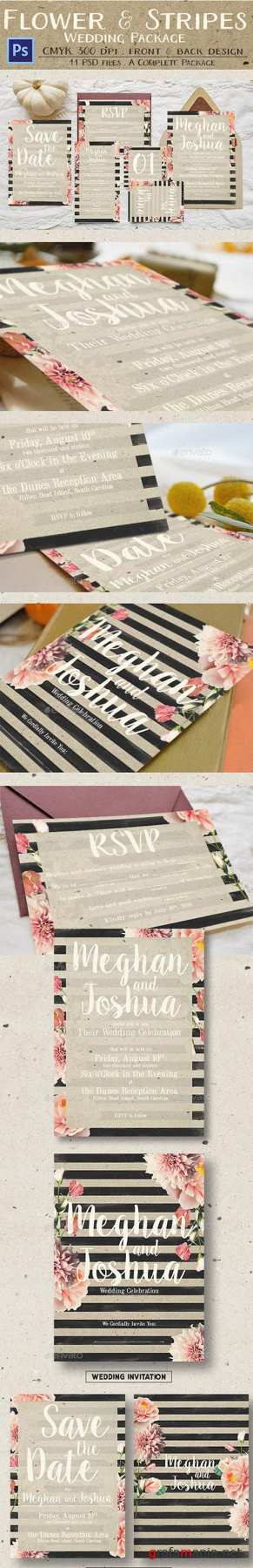 GR - Rustic Flower & Stripes Wedding Package 13641213