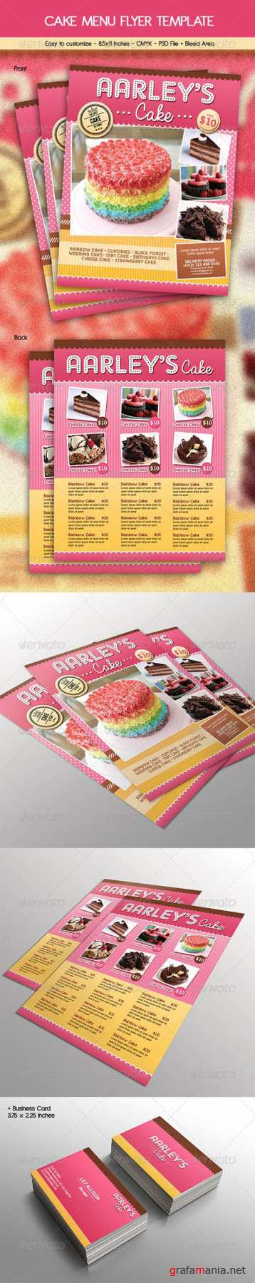GR - Cake Menu Flyer + Business Card 6784299