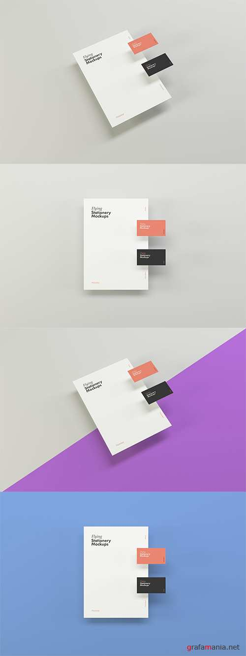 Flying Stationery Mockups PSD