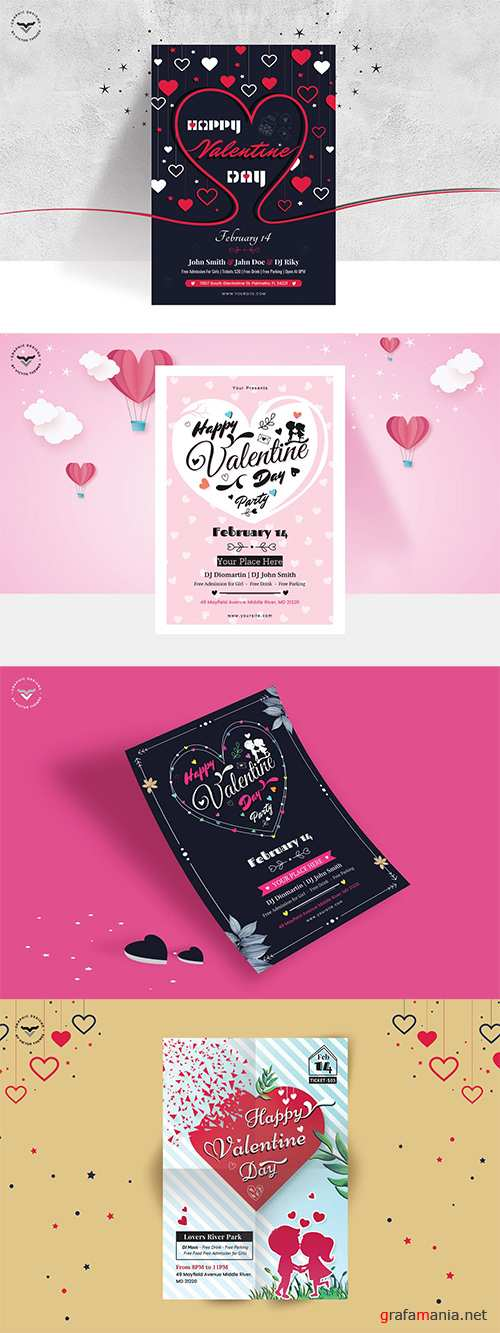 4 Valentines Day Flyer Templates