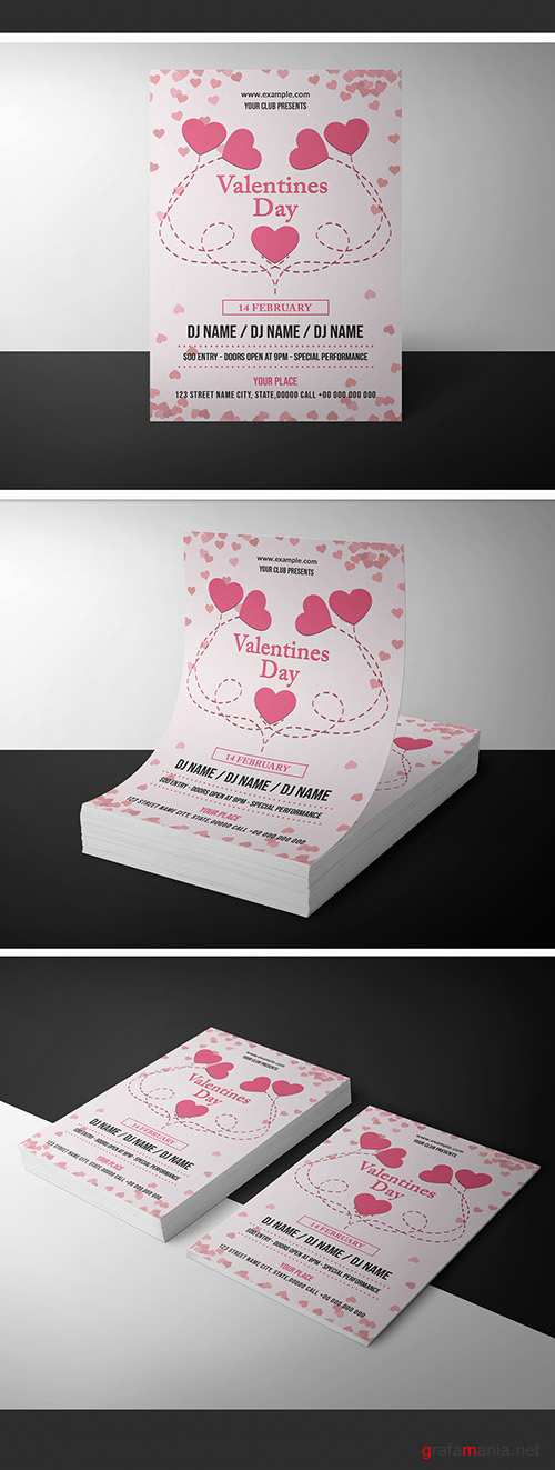 Valentine's Day Invitation Layout with Hearts 246267449